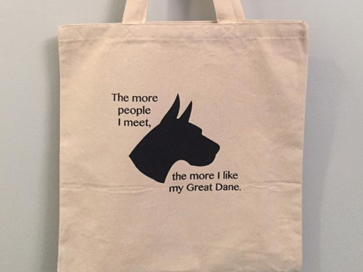 The more people I meet, the more I like my Great Dane – custom tote bag